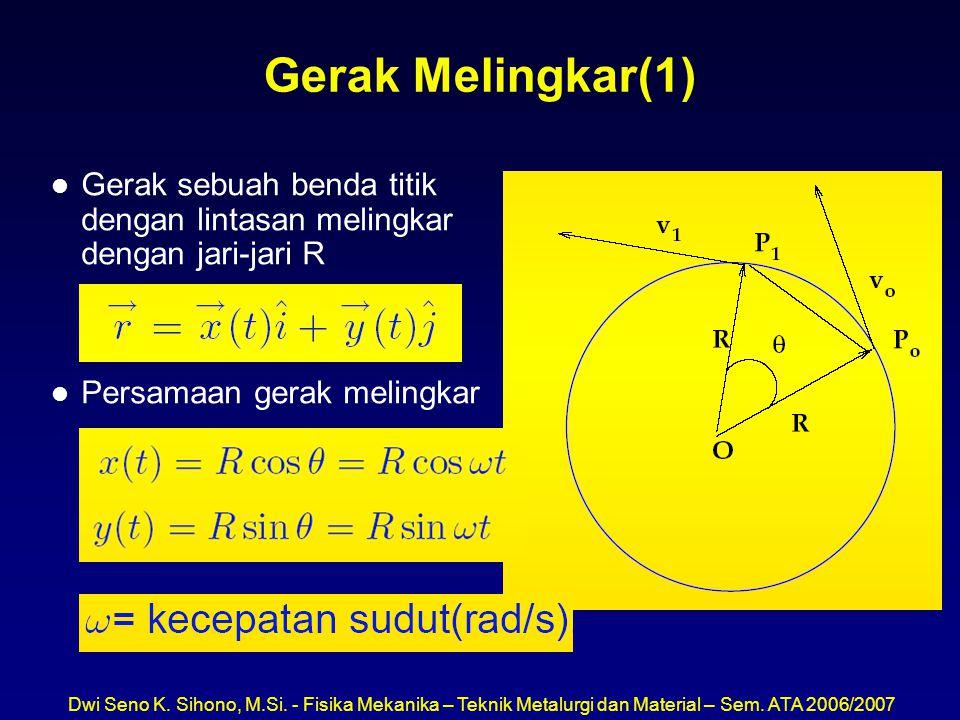 Dwi Seno K. Sihono, M.Si. - Fisika Mekanika – Teknik Metalurgi dan Material – Sem. ATA 2006/2007 Gerak Melingkar(1) l Gerak sebuah benda titik dengan