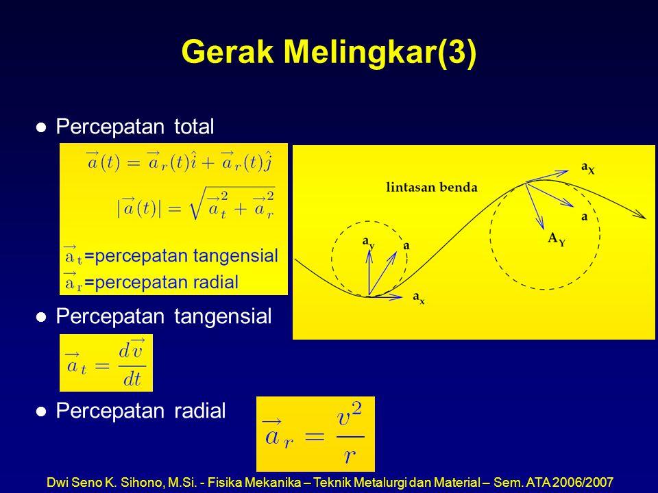 Dwi Seno K. Sihono, M.Si. - Fisika Mekanika – Teknik Metalurgi dan Material – Sem. ATA 2006/2007 Gerak Melingkar(3) l Percepatan total l Percepatan ta