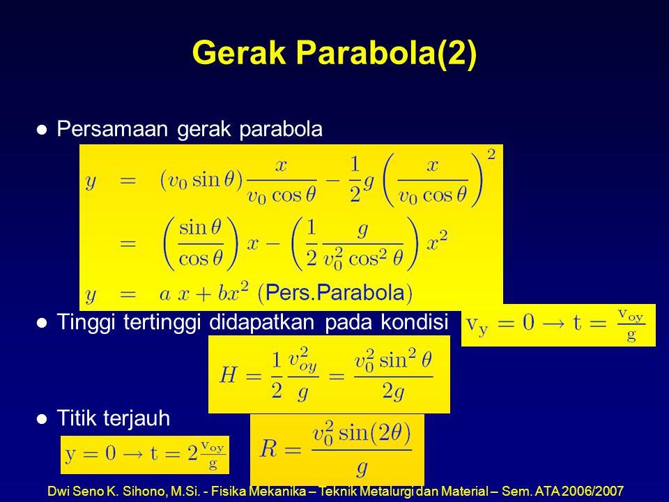 Dwi Seno K. Sihono, M.Si. - Fisika Mekanika – Teknik Metalurgi dan Material – Sem. ATA 2006/2007 Gerak Parabola(2) l Persamaan gerak parabola l Tinggi