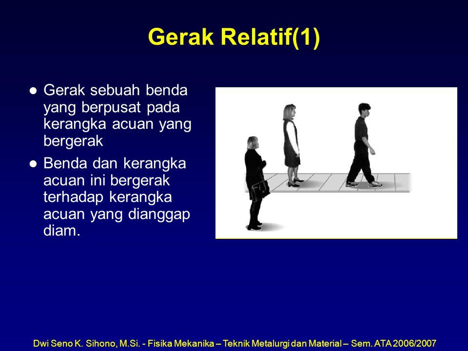 Dwi Seno K. Sihono, M.Si. - Fisika Mekanika – Teknik Metalurgi dan Material – Sem. ATA 2006/2007 Gerak Relatif(1) l Gerak sebuah benda yang berpusat p