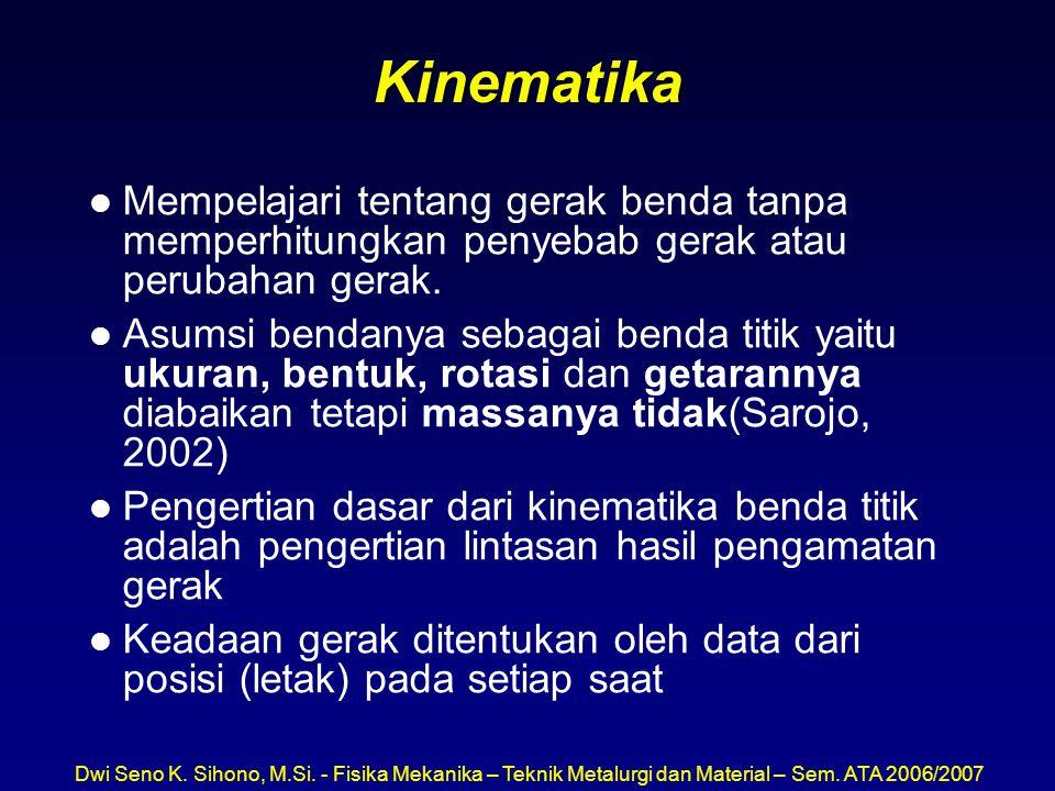 Kinematika l Mempelajari tentang gerak benda tanpa memperhitungkan penyebab gerak atau perubahan gerak. l Asumsi bendanya sebagai benda titik yaitu uk