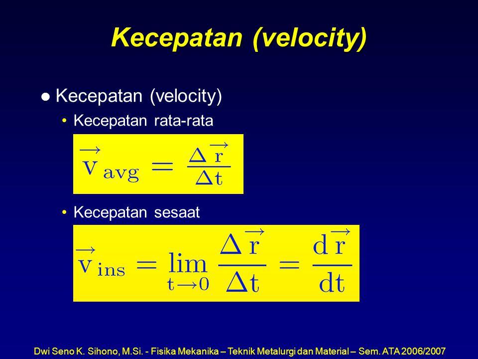 Dwi Seno K. Sihono, M.Si. - Fisika Mekanika – Teknik Metalurgi dan Material – Sem. ATA 2006/2007 Kecepatan (velocity) l Kecepatan (velocity) Kecepatan