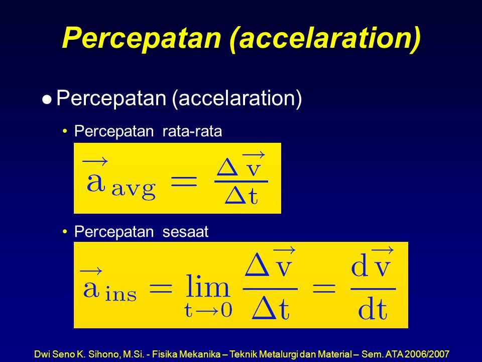 Dwi Seno K. Sihono, M.Si. - Fisika Mekanika – Teknik Metalurgi dan Material – Sem. ATA 2006/2007 Percepatan (accelaration) l Percepatan (accelaration)