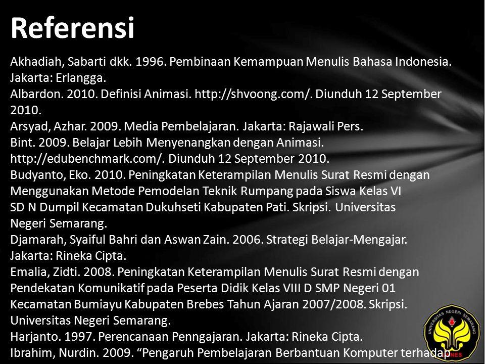 Referensi Akhadiah, Sabarti dkk. 1996. Pembinaan Kemampuan Menulis Bahasa Indonesia.