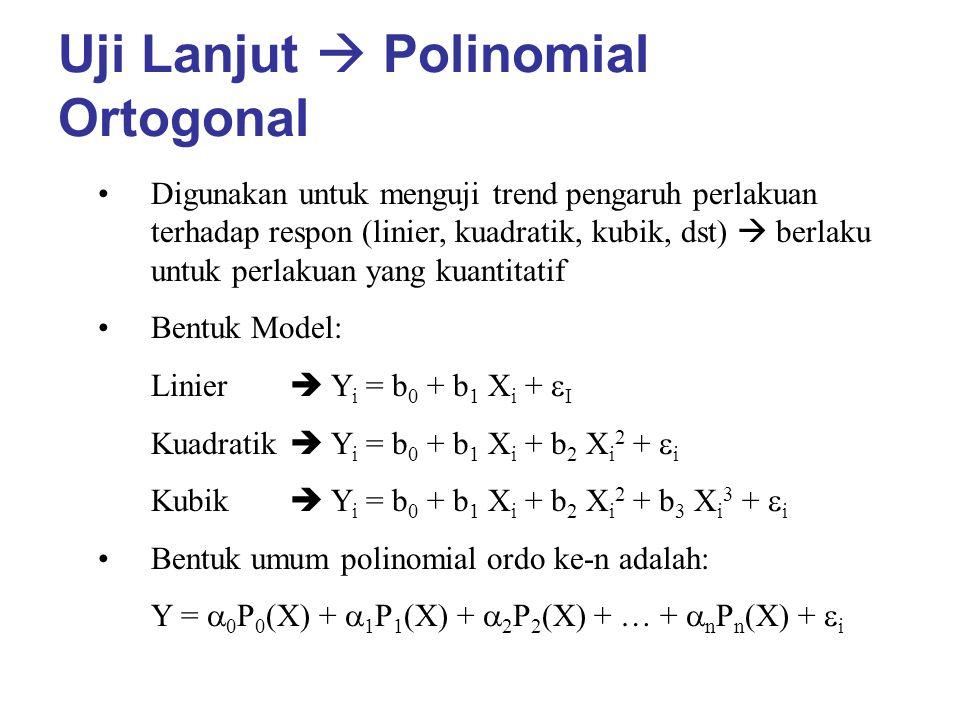 Uji Lanjut  Polinomial Ortogonal Digunakan untuk menguji trend pengaruh perlakuan terhadap respon (linier, kuadratik, kubik, dst)  berlaku untuk per
