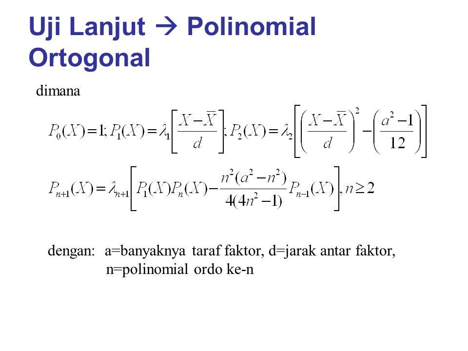 Uji Lanjut  Polinomial Ortogonal dimana dengan: a=banyaknya taraf faktor, d=jarak antar faktor, n=polinomial ordo ke-n