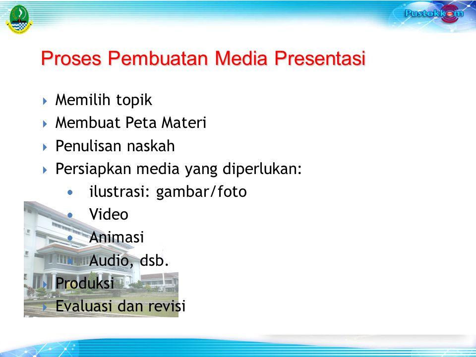 Proses Pembuatan Media Presentasi  Memilih topik  Membuat Peta Materi  Penulisan naskah  Persiapkan media yang diperlukan: ilustrasi: gambar/foto
