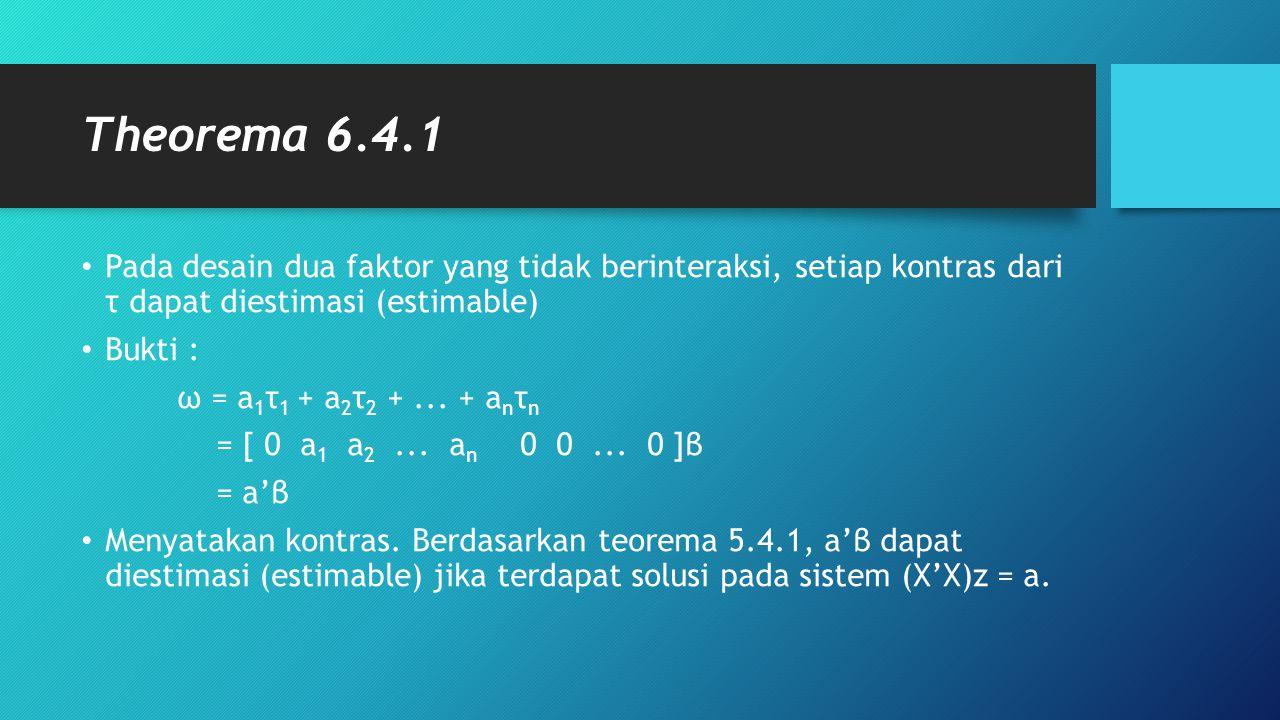 Theorema 6.4.1 Pada desain dua faktor yang tidak berinteraksi, setiap kontras dari τ dapat diestimasi (estimable) Bukti : ω = a 1 τ 1 + a 2 τ 2 +...