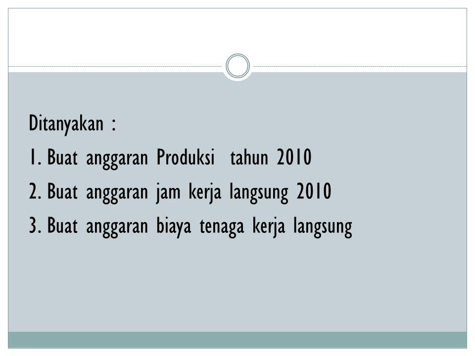 Ditanyakan : 1.Buat anggaran Produksi tahun 2010 2.