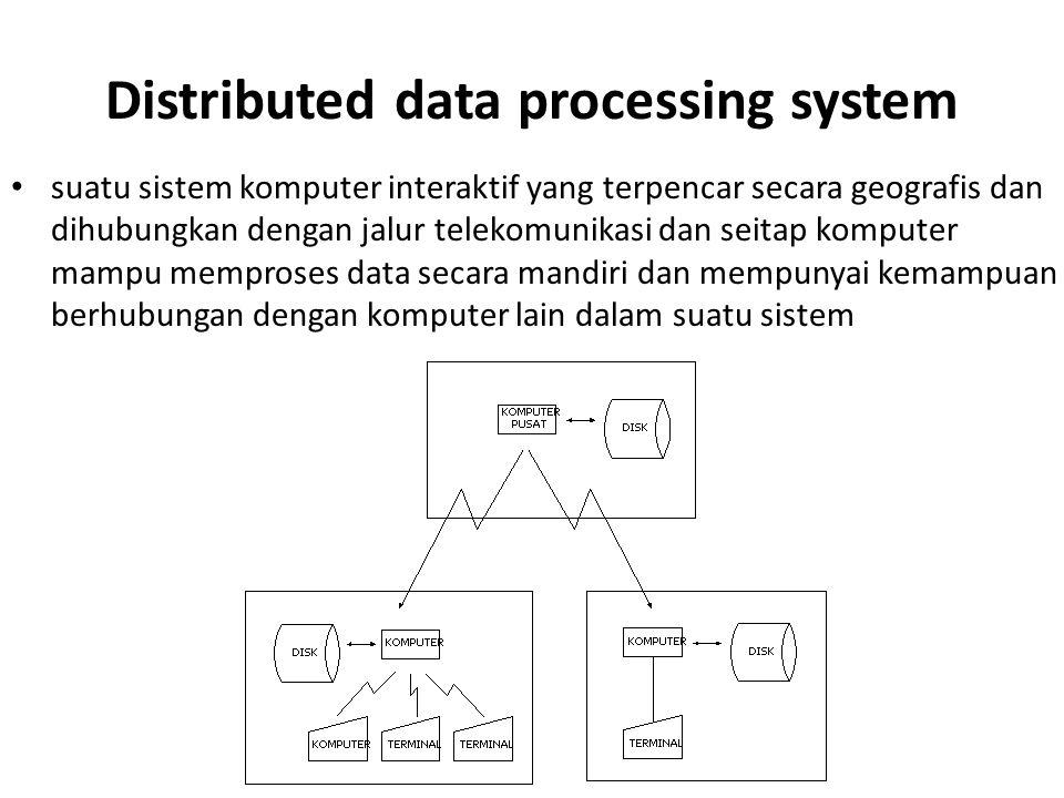 Distributed data processing system suatu sistem komputer interaktif yang terpencar secara geografis dan dihubungkan dengan jalur telekomunikasi dan se
