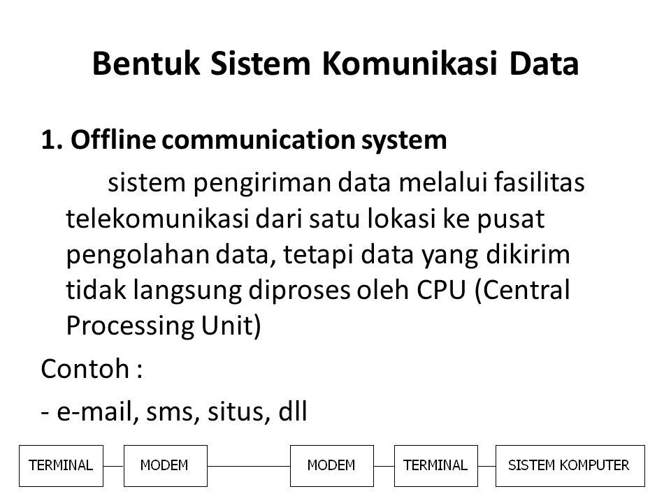 1. Offline communication system sistem pengiriman data melalui fasilitas telekomunikasi dari satu lokasi ke pusat pengolahan data, tetapi data yang di