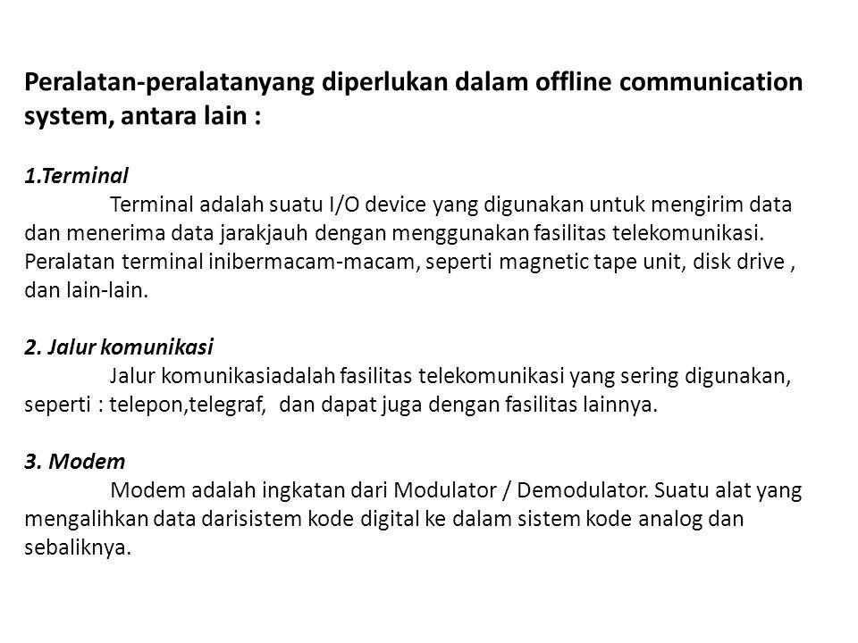 Peralatan-peralatanyang diperlukan dalam offline communication system, antara lain : 1.Terminal Terminal adalah suatu I/O device yang digunakan untuk
