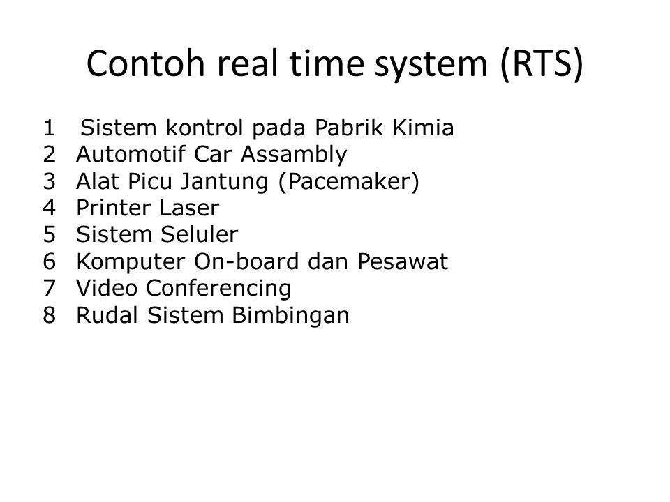 Contoh real time system (RTS) 1 Sistem kontrol pada Pabrik Kimia 2Automotif Car Assambly 3Alat Picu Jantung (Pacemaker) 4Printer Laser 5Sistem Seluler