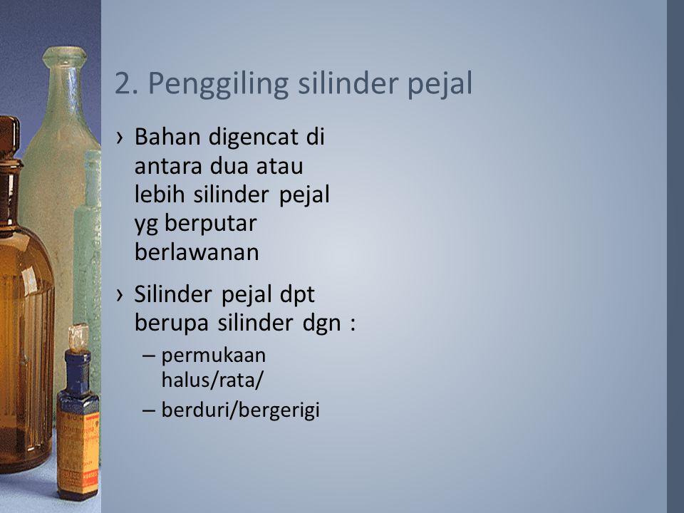 ›Bahan digencat di antara dua atau lebih silinder pejal yg berputar berlawanan ›Silinder pejal dpt berupa silinder dgn : –permukaan halus/rata/ –berduri/bergerigi 2.