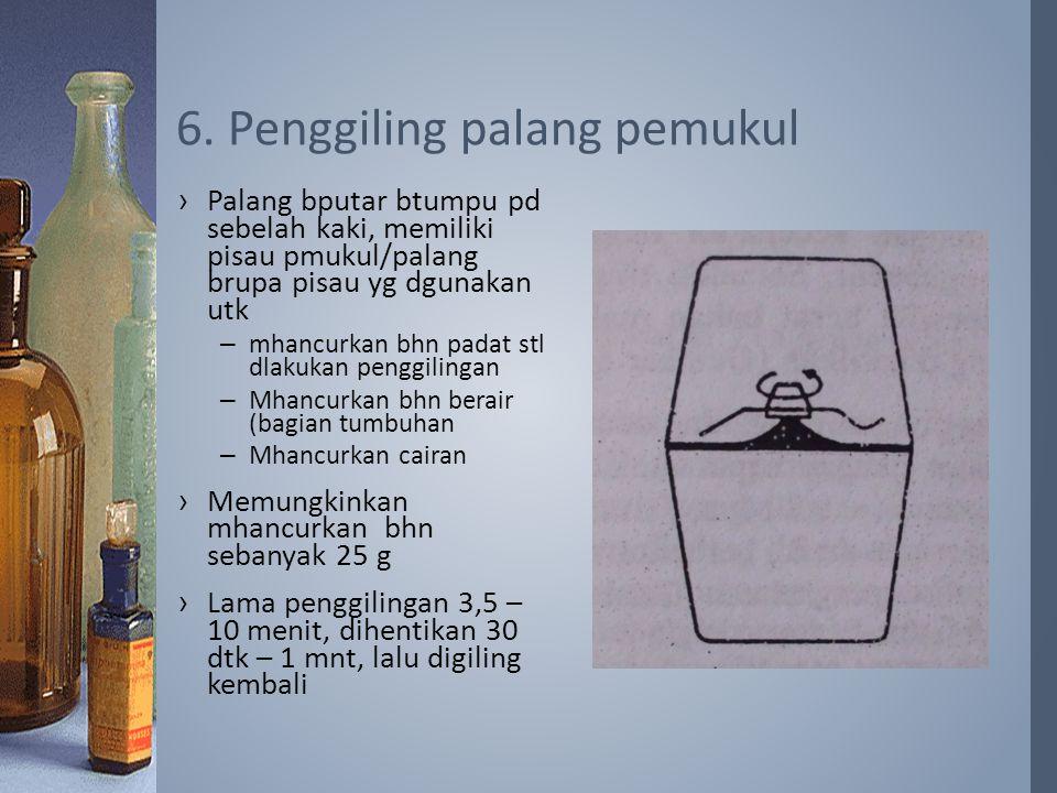 ›Palang bputar btumpu pd sebelah kaki, memiliki pisau pmukul/palang brupa pisau yg dgunakan utk –mhancurkan bhn padat stl dlakukan penggilingan –Mhancurkan bhn berair (bagian tumbuhan –Mhancurkan cairan ›Memungkinkan mhancurkan bhn sebanyak 25 g ›Lama penggilingan 3,5 – 10 menit, dihentikan 30 dtk – 1 mnt, lalu digiling kembali 6.