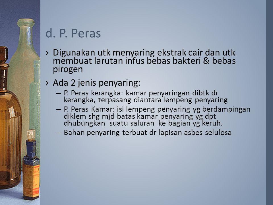 ›Digunakan utk menyaring ekstrak cair dan utk membuat larutan infus bebas bakteri & bebas pirogen ›Ada 2 jenis penyaring: –P. Peras kerangka: kamar pe