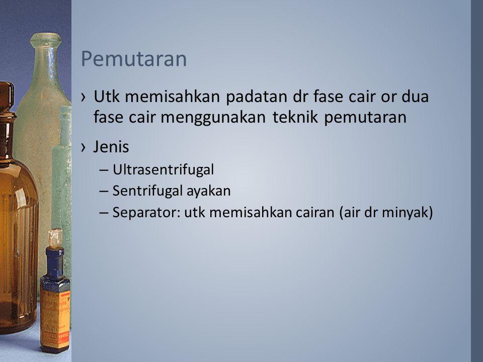 ›Utk memisahkan padatan dr fase cair or dua fase cair menggunakan teknik pemutaran ›Jenis –Ultrasentrifugal –Sentrifugal ayakan –Separator: utk memisahkan cairan (air dr minyak) Pemutaran