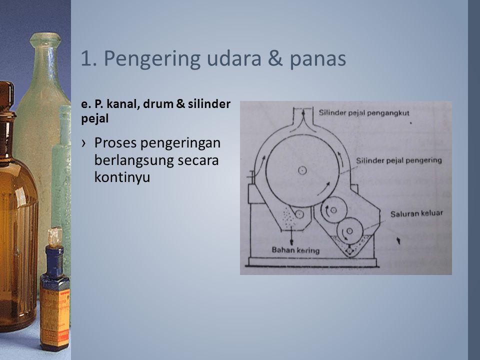 ›Proses pengeringan berlangsung secara kontinyu e. P. kanal, drum & silinder pejal 1. Pengering udara & panas