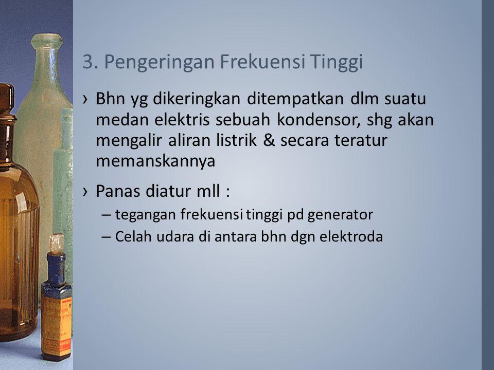›Bhn yg dikeringkan ditempatkan dlm suatu medan elektris sebuah kondensor, shg akan mengalir aliran listrik & secara teratur memanskannya ›Panas diatur mll : –tegangan frekuensi tinggi pd generator –Celah udara di antara bhn dgn elektroda 3.