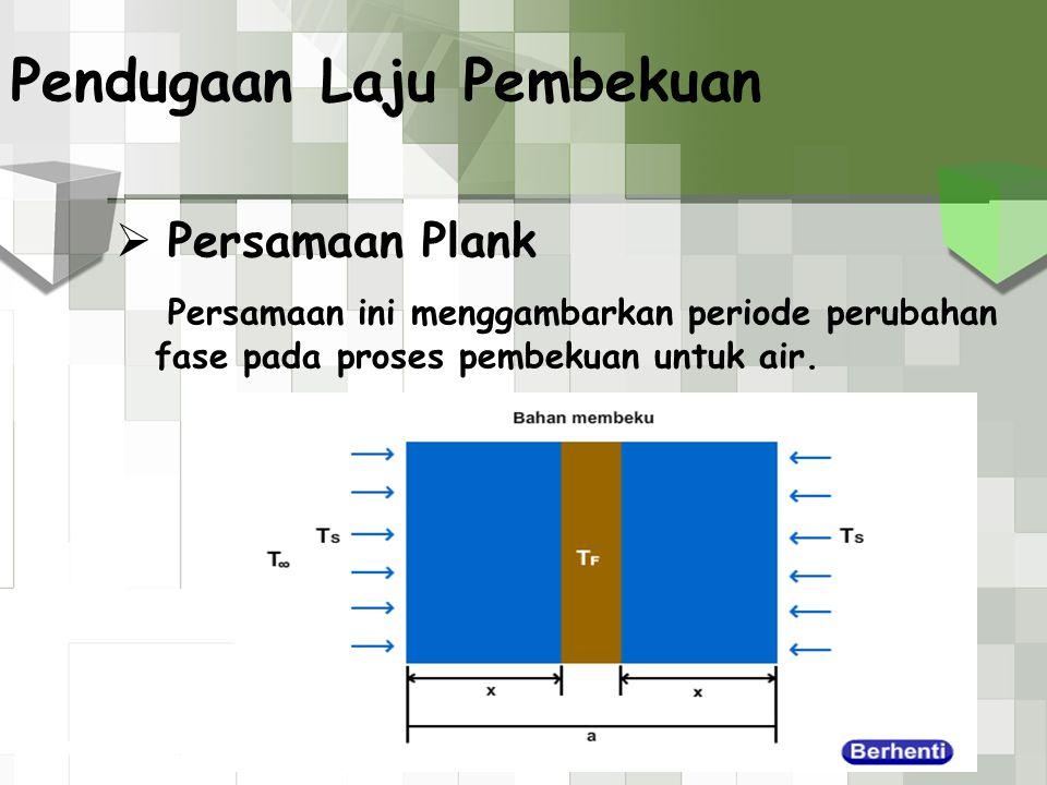  Persamaan Plank Persamaan ini menggambarkan periode perubahan fase pada proses pembekuan untuk air. Pendugaan Laju Pembekuan