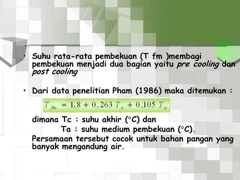 Suhu rata-rata pembekuan (T fm )membagi pembekuan menjadi dua bagian yaitu pre cooling dan post cooling Dari data penelitian Pham (1986) maka ditemuka