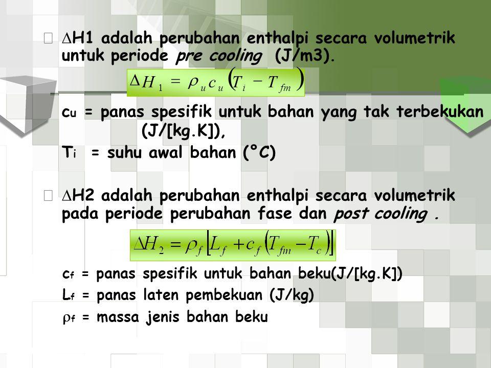  H1 adalah perubahan enthalpi secara volumetrik untuk periode pre cooling (J/m3). c u = panas spesifik untuk bahan yang tak terbekukan (J/[kg.K]), T