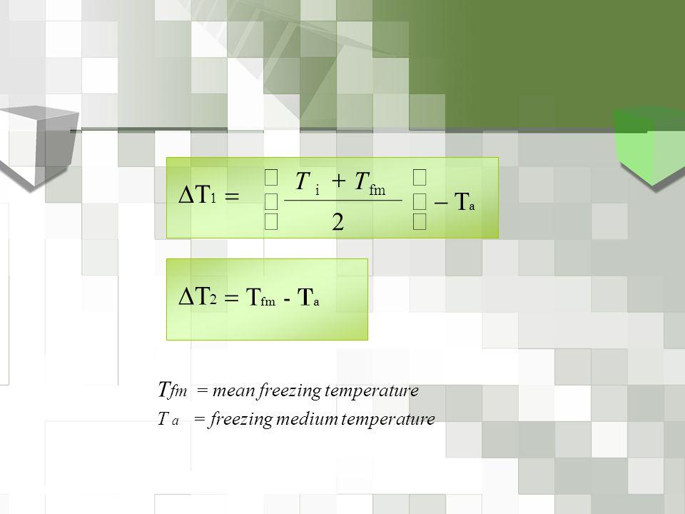  a        2 fmi TT T fm = mean freezing temperature T a = freezing medium temperature    fm - T a   