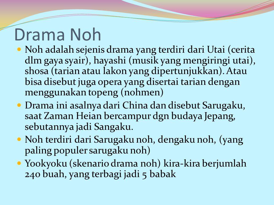 Drama Noh Noh adalah sejenis drama yang terdiri dari Utai (cerita dlm gaya syair), hayashi (musik yang mengiringi utai), shosa (tarian atau lakon yang