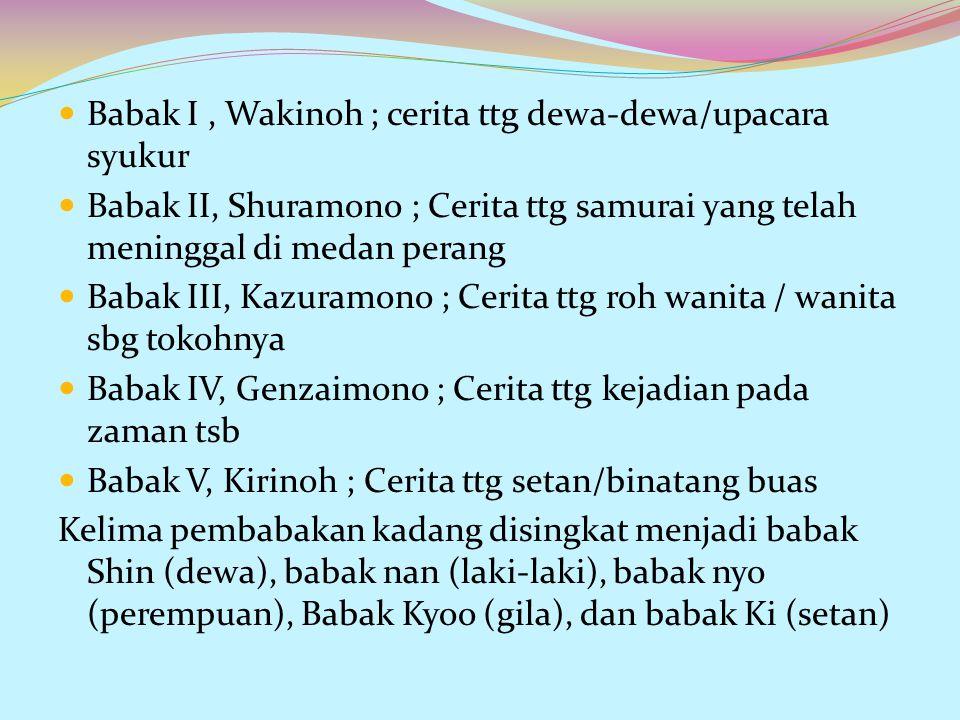 Babak I, Wakinoh ; cerita ttg dewa-dewa/upacara syukur Babak II, Shuramono ; Cerita ttg samurai yang telah meninggal di medan perang Babak III, Kazura
