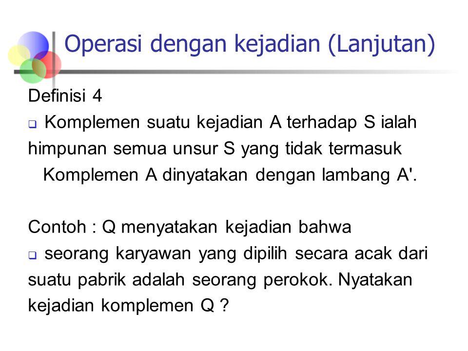 Operasi dengan kejadian (Lanjutan) Definisi 4  Komplemen suatu kejadian A terhadap S ialah himpunan semua unsur S yang tidak termasuk Komplemen A din