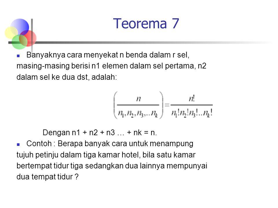 Teorema 7 Banyaknya cara menyekat n benda dalam r sel, masing-masing berisi n1 elemen dalam sel pertama, n2 dalam sel ke dua dst, adalah: Dengan n1 +