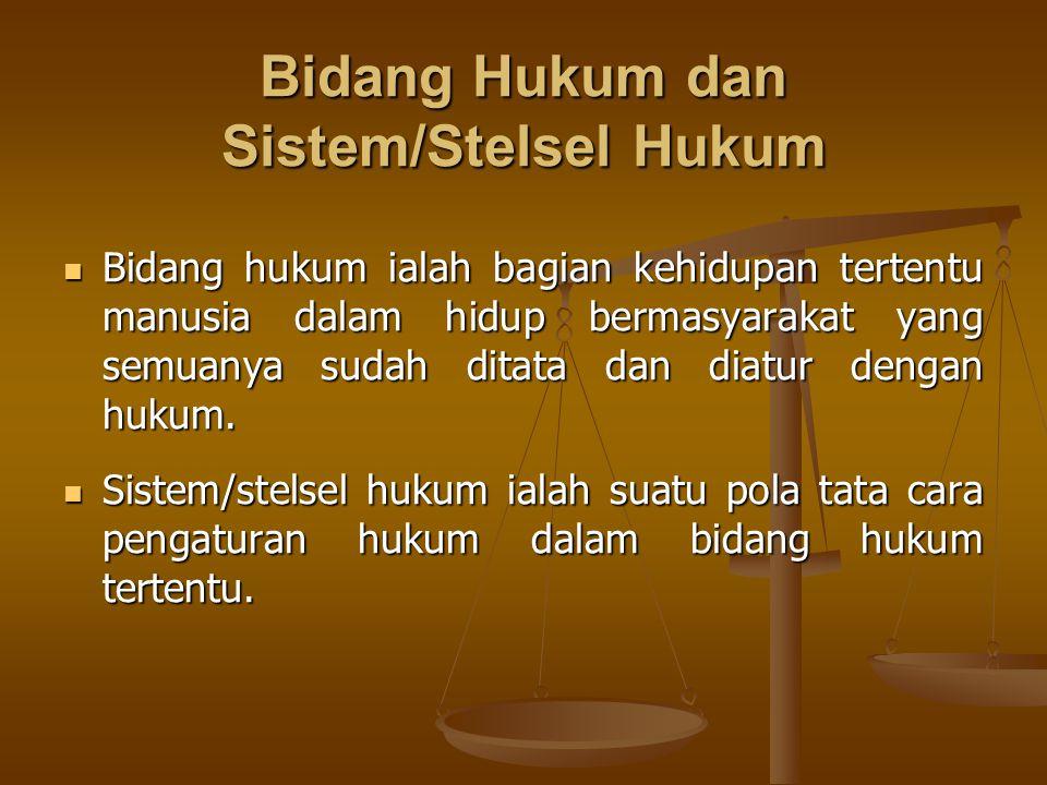 Bidang Hukum dan Sistem/Stelsel Hukum Bidang hukum ialah bagian kehidupan tertentu manusia dalam hidup bermasyarakat yang semuanya sudah ditata dan di
