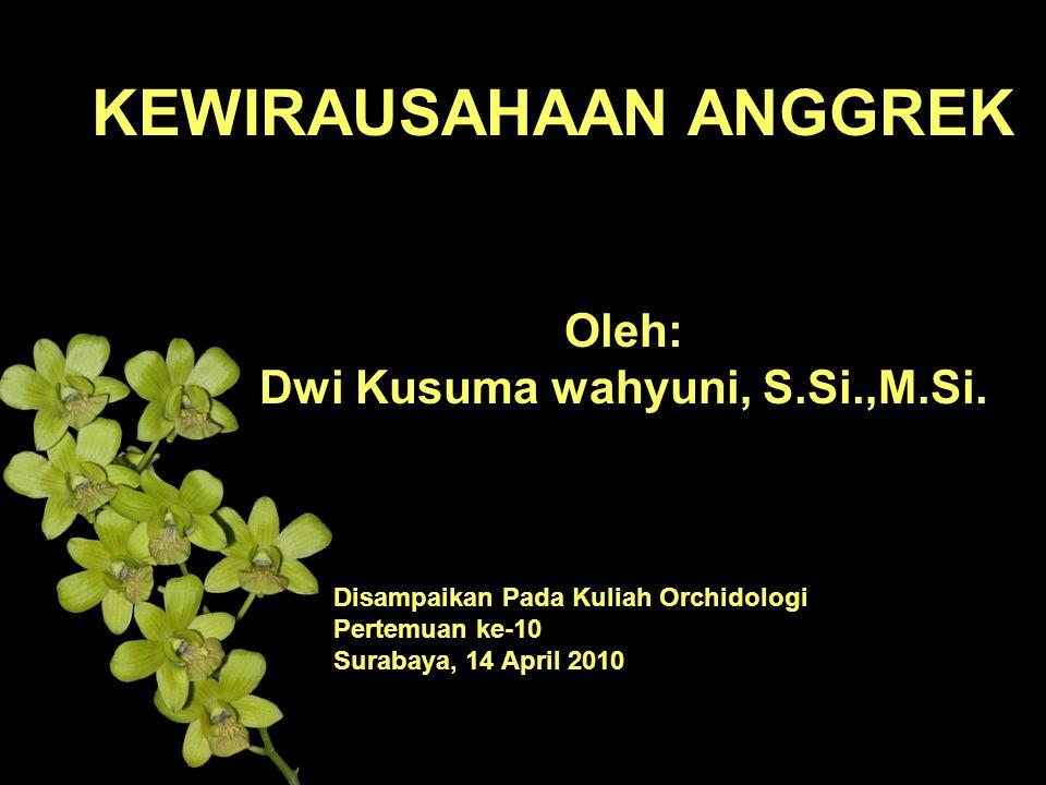 KEWIRAUSAHAAN ANGGREK Oleh: Dwi Kusuma wahyuni, S.Si.,M.Si.