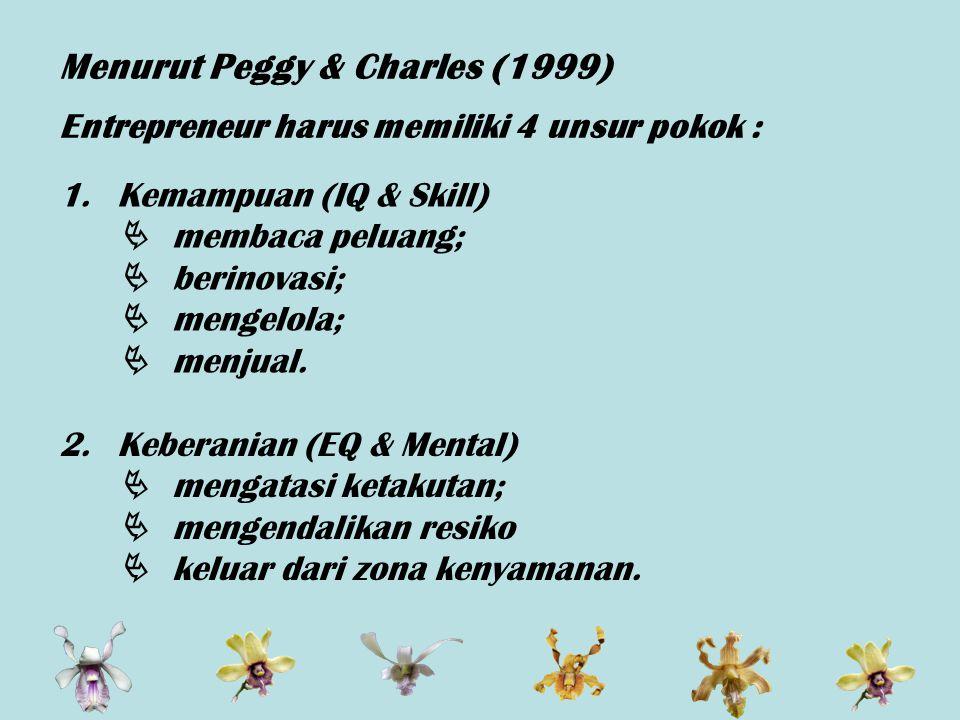 Menurut Peggy & Charles (1999) Entrepreneur harus memiliki 4 unsur pokok : 1.Kemampuan (IQ & Skill)  membaca peluang;  berinovasi;  mengelola;  menjual.