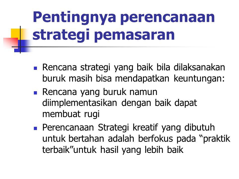 Pentingnya perencanaan strategi pemasaran Rencana strategi yang baik bila dilaksanakan buruk masih bisa mendapatkan keuntungan: Rencana yang buruk nam