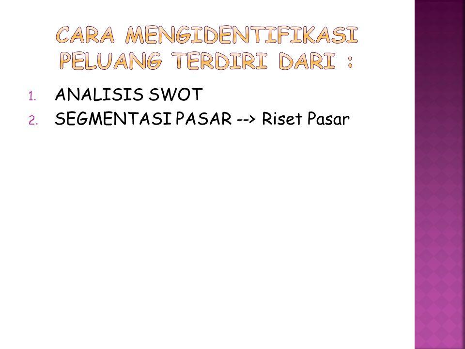 1. ANALISIS SWOT 2. SEGMENTASI PASAR --> Riset Pasar