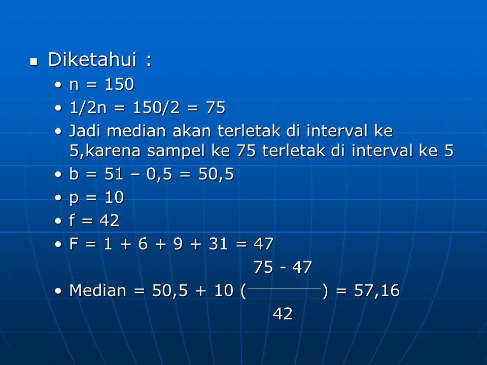 Diketahui : Diketahui : n = 150n = 150 1/2n = 150/2 = 751/2n = 150/2 = 75 Jadi median akan terletak di interval ke 5,karena sampel ke 75 terletak di i