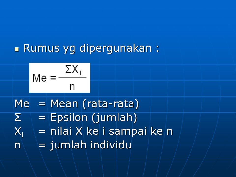 Rumus yg dipergunakan : Rumus yg dipergunakan : Me = Mean (rata-rata) Σ= Epsilon (jumlah) X i = nilai X ke i sampai ke n n= jumlah individu