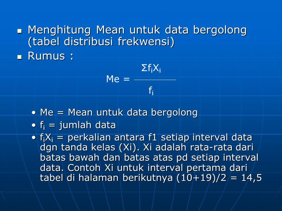 Menghitung Mean untuk data bergolong (tabel distribusi frekwensi) Menghitung Mean untuk data bergolong (tabel distribusi frekwensi) Rumus : Rumus : Me = Mean untuk data bergolongMe = Mean untuk data bergolong f i = jumlah dataf i = jumlah data f i X i = perkalian antara f1 setiap interval data dgn tanda kelas (Xi).