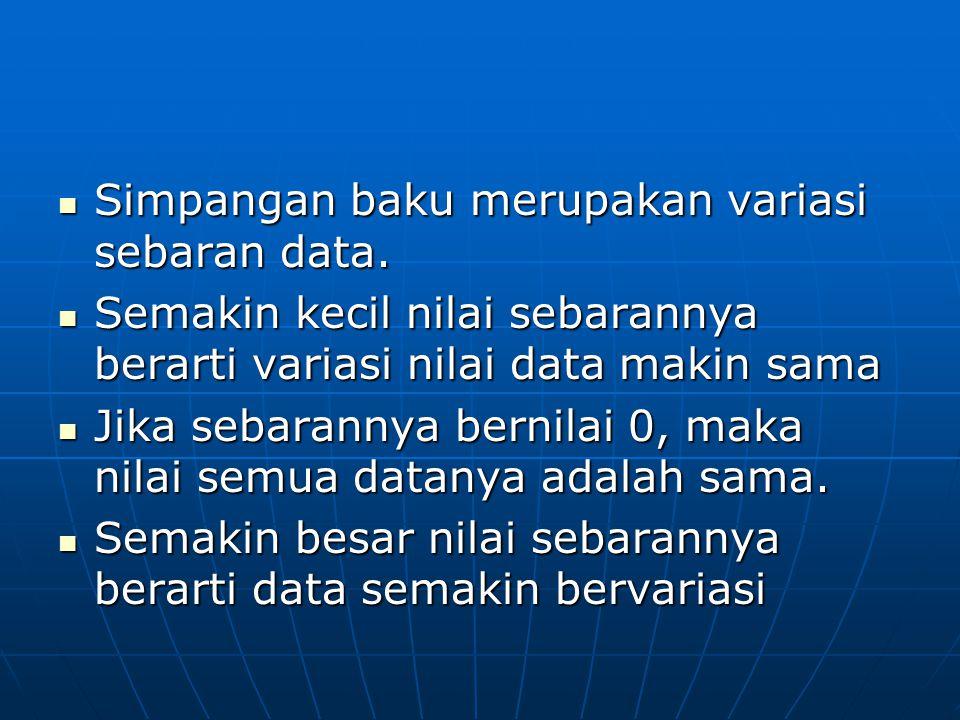 Simpangan baku merupakan variasi sebaran data. Simpangan baku merupakan variasi sebaran data. Semakin kecil nilai sebarannya berarti variasi nilai dat