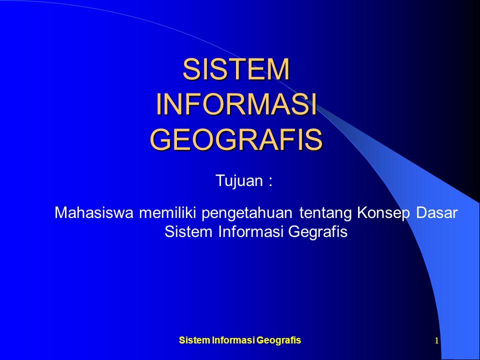 Sistem Informasi Geografis22 Sistem Informasi Geografis Gabungan tiga unsur pokok: sistem, informasi dan geografis Permukaan bumi Mengandung pengertian: Posisi suatu objek Atribut-atribut objek Data dunia nyata Data sederhana Peta : statisSIG : dinamis