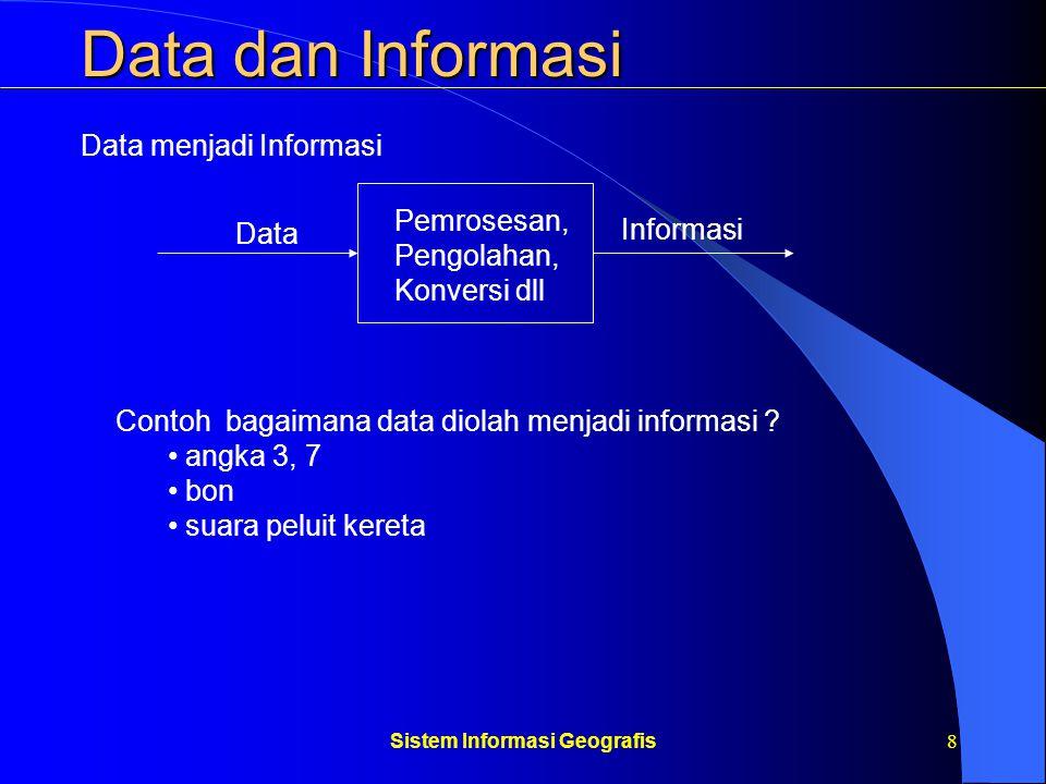Sistem Informasi Geografis9 Data dan Informasi Didasarkan pada asumsi-asumsi bahwa kita dapat mengidentifikasi kebutuhan-kebutuhan informasi Dapat menentukan metode-metode untuk menghasilkan informasi dari data dalam memenuhi kebutuhan Contoh: anggaran organisasi, undang-undang, surat perjanjian dll Informasi Formal: Mencakup pendapat-pendapat, firasat, prasangka, desas- desus, pengalaman pribadi dll Sangat tergantung dan dapat diinterprestasikan semaunya oleh penerima Informasi Non Formal: