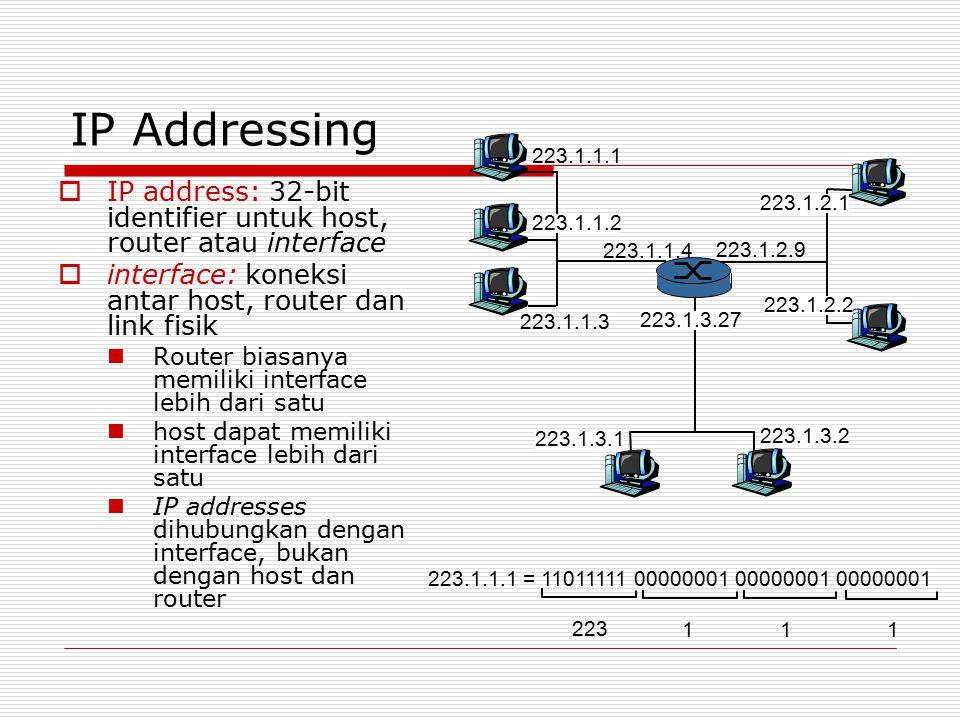 IP Addressing  IP address: 32-bit identifier untuk host, router atau interface  interface: koneksi antar host, router dan link fisik Router biasanya