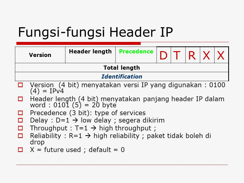 Fungsi-fungsi Header IP  Version (4 bit) menyatakan versi IP yang digunakan : 0100 (4) = IPv4  Header length (4 bit) menyatakan panjang header IP dalam word : 0101 (5) = 20 byte  Precedence (3 bit): type of services  Delay : D=1  low delay ; segera dikirim  Throughput : T=1  high throughput ;  Reliability : R=1  high reliability ; paket tidak boleh di drop  X = future used ; default = 0 Version Header lengthPrecedence D T RXX Total length Identification