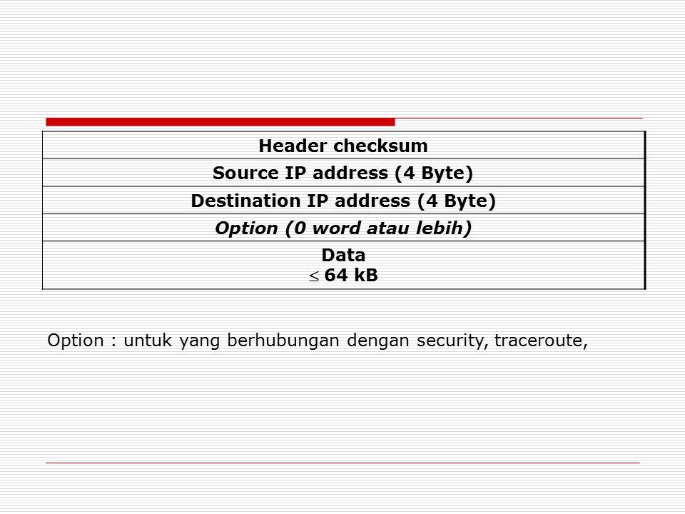 Header checksum Source IP address (4 Byte) Destination IP address (4 Byte) Option (0 word atau lebih) Data  64 kB Option : untuk yang berhubungan den