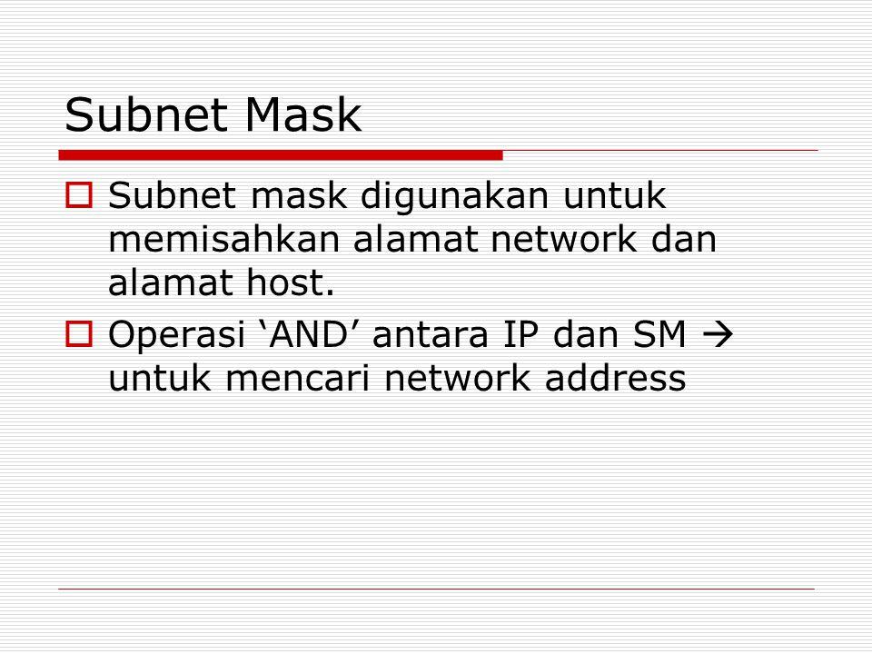 Subnet Mask  Subnet mask digunakan untuk memisahkan alamat network dan alamat host.  Operasi 'AND' antara IP dan SM  untuk mencari network address