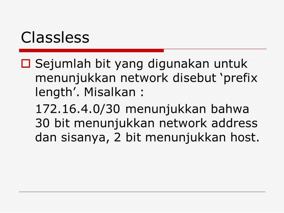 Classless  Sejumlah bit yang digunakan untuk menunjukkan network disebut 'prefix length'. Misalkan : 172.16.4.0/30 menunjukkan bahwa 30 bit menunjukk