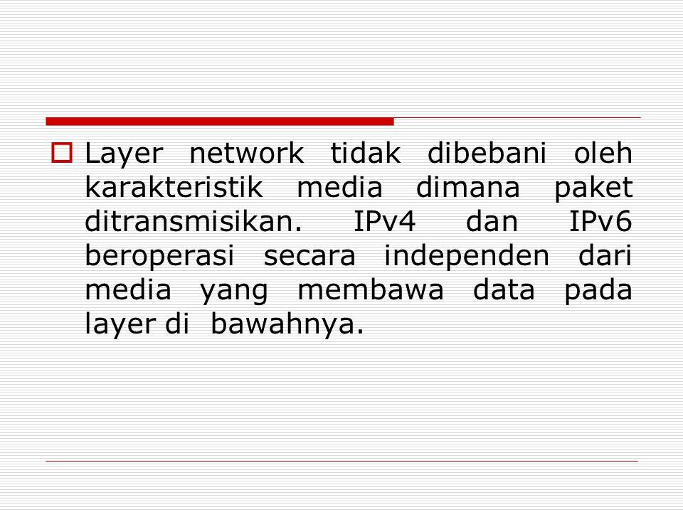  Layer network tidak dibebani oleh karakteristik media dimana paket ditransmisikan. IPv4 dan IPv6 beroperasi secara independen dari media yang membaw