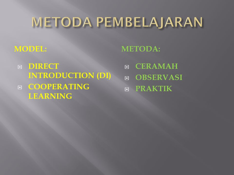 MODEL:METODA:  DIRECT INTRODUCTION (DI)  COOPERATING LEARNING  CERAMAH  OBSERVASI  PRAKTIK