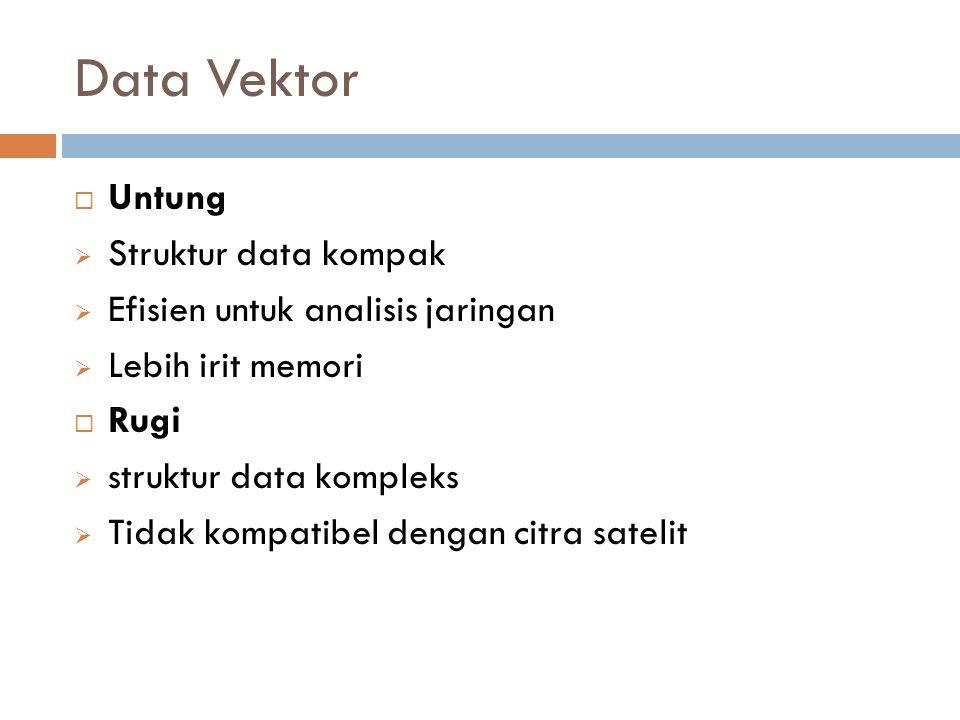 Data Vektor  Untung  Struktur data kompak  Efisien untuk analisis jaringan  Lebih irit memori  Rugi  struktur data kompleks  Tidak kompatibel d